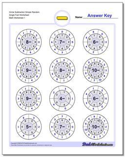 Subtraction Worksheet Circle Simple Random Single Fact Worksheet