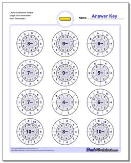 Subtraction Worksheet Fact Circles