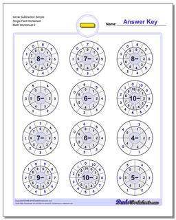 Circle Subtraction Simple Single Fact Worksheet www.dadsworksheets.com/worksheets/subtraction.html