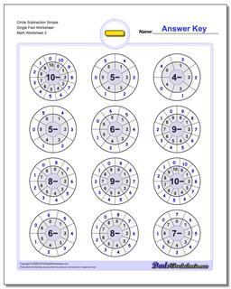 Circle Subtraction Simple Single Fact Worksheet