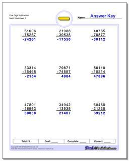 Subtraction Worksheet Five Digit