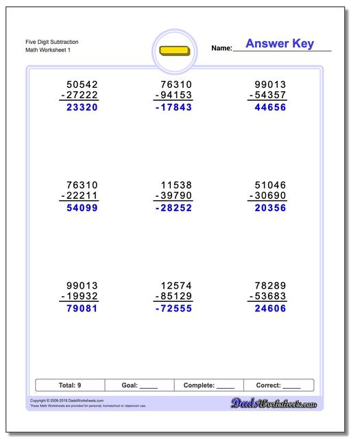 Full Borrowing – Math Worksheets with Regrouping