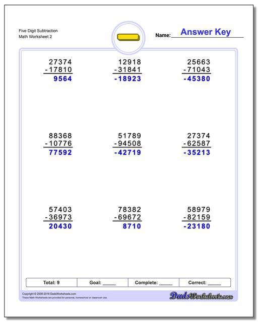 Five Digit Subtraction Worksheet www.dadsworksheets.com/worksheets/subtraction.html