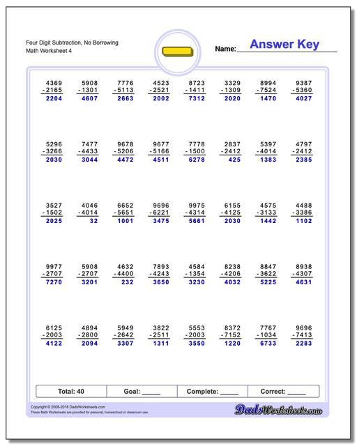 Four Digit Subtraction Worksheet, No Borrowing