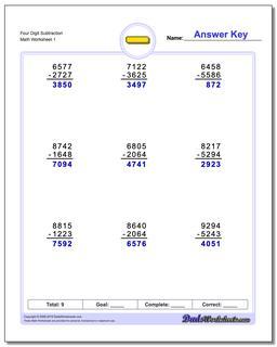Subtraction Worksheet Four Digit