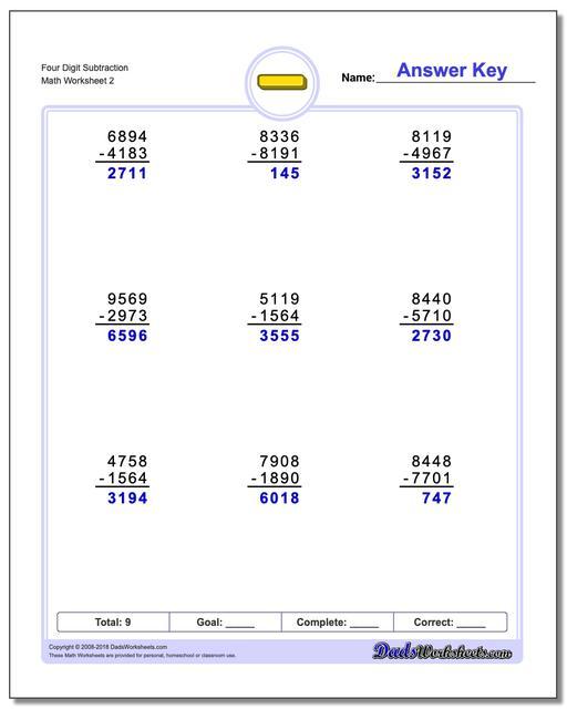 Four Digit Subtraction Worksheet www.dadsworksheets.com/worksheets/subtraction.html