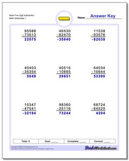 Subtraction Worksheet More Five Digit