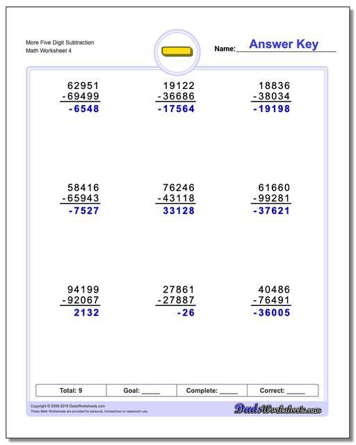 More Five Digit Subtraction Worksheet