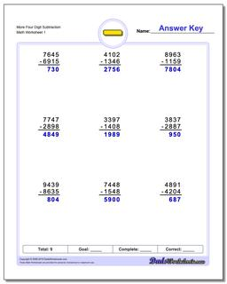 Subtraction Worksheet More Four Digit