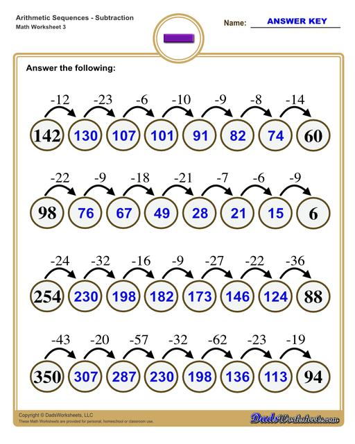 Subtraction Sequence Worksheets