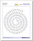 Spiral Subtraction UV Math Fact Worksheet