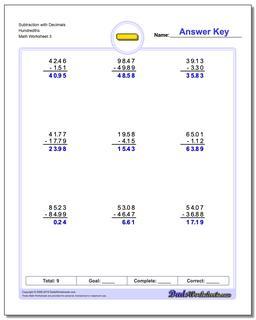 Subtraction Worksheet with Decimals Hundredths