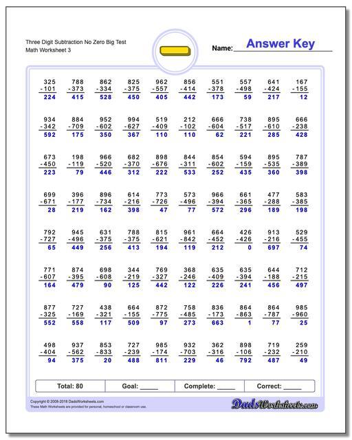 Three Digit Subtraction Worksheet No Zero Big Test