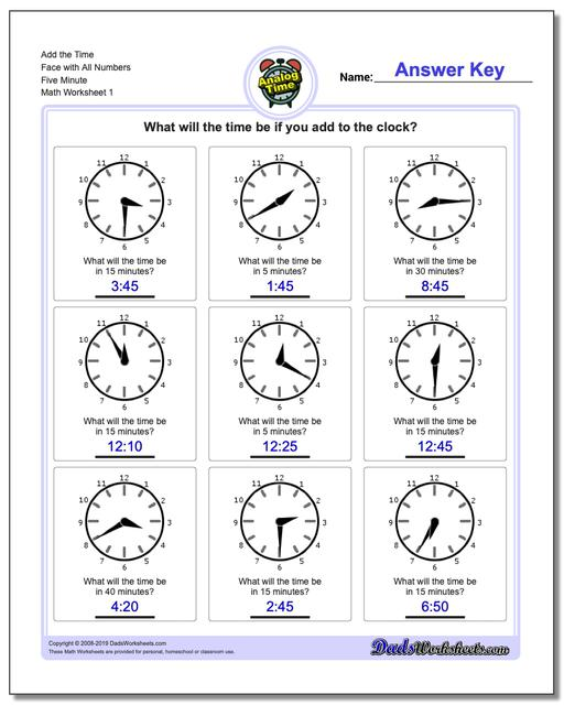Telling Analog Time Add the Face with All Numbers Five Minute Worksheets
