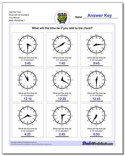 Telling Analog Time Five Minute Addition Worksheet
