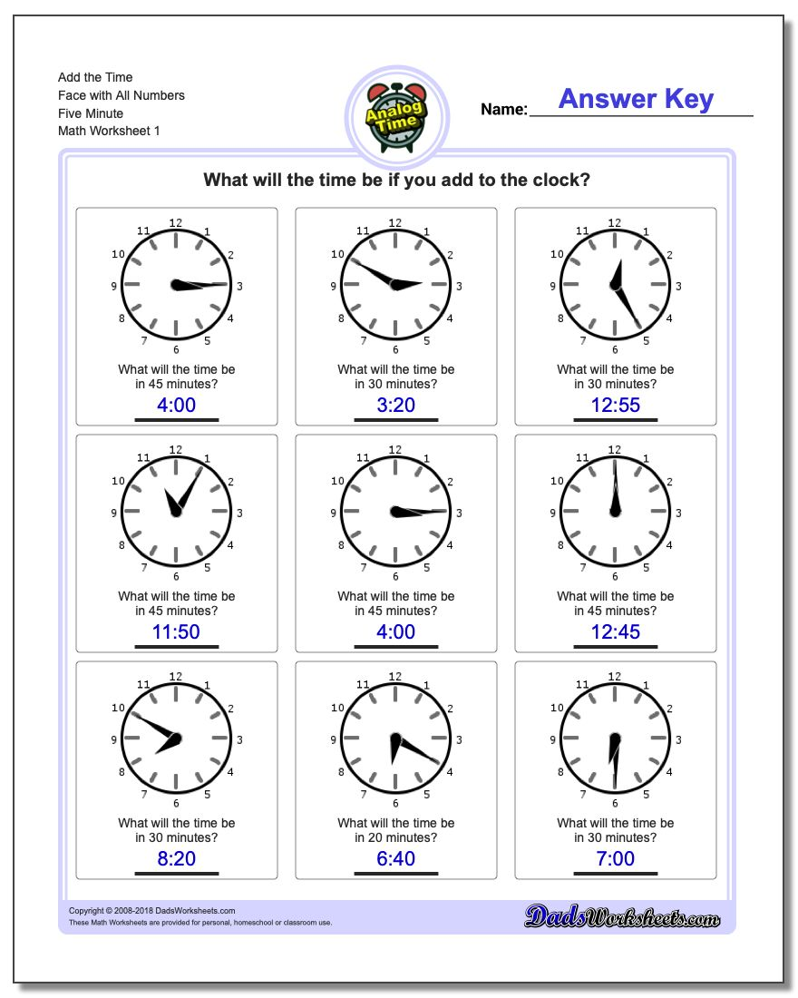 Telling Analog Time – Time Worksheet