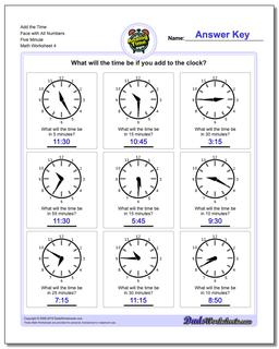 Add the Time Face with All Numbers Five Minute Worksheet