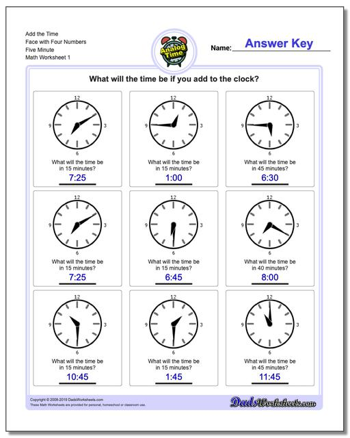 Telling Analog Time Add the Face with Four Numbers Five Minute Worksheets