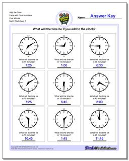 Telling Analog Time Add the Face with Four Numbers Five Minute Worksheet