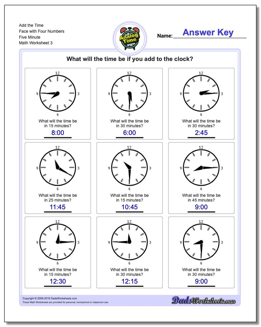 Add the Time Face with Four Numbers Five Minute Worksheet