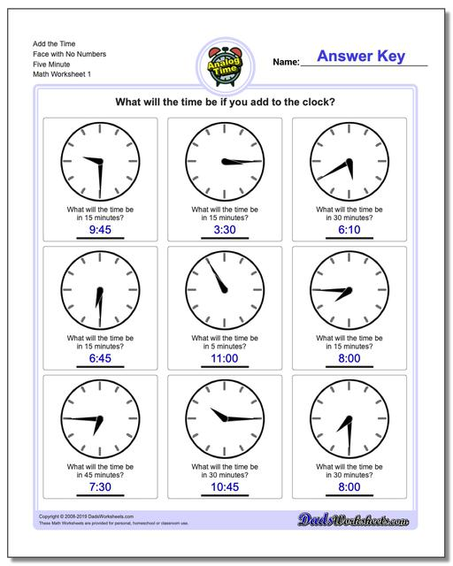 Telling Analog Time Add the Face with No Numbers Five Minute Worksheets
