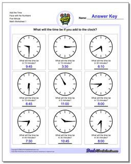 Telling Analog Time Add the Face with No Numbers Five Minute Worksheet