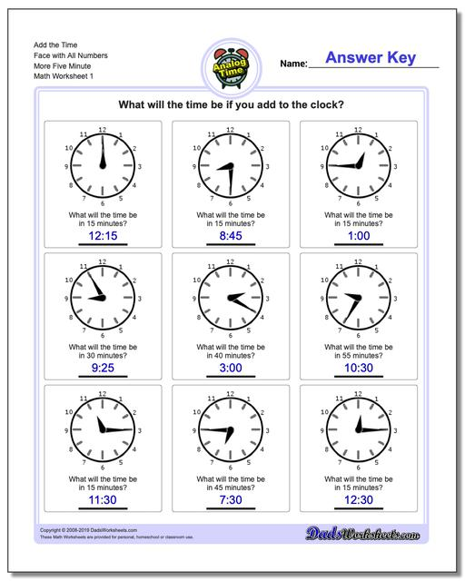 Telling Analog Time Add the Face with All Numbers More Five Minute Worksheets