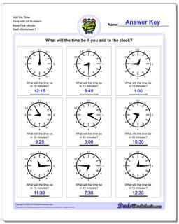 Telling Analog Time Add the Face with All Numbers More Five Minute Worksheet