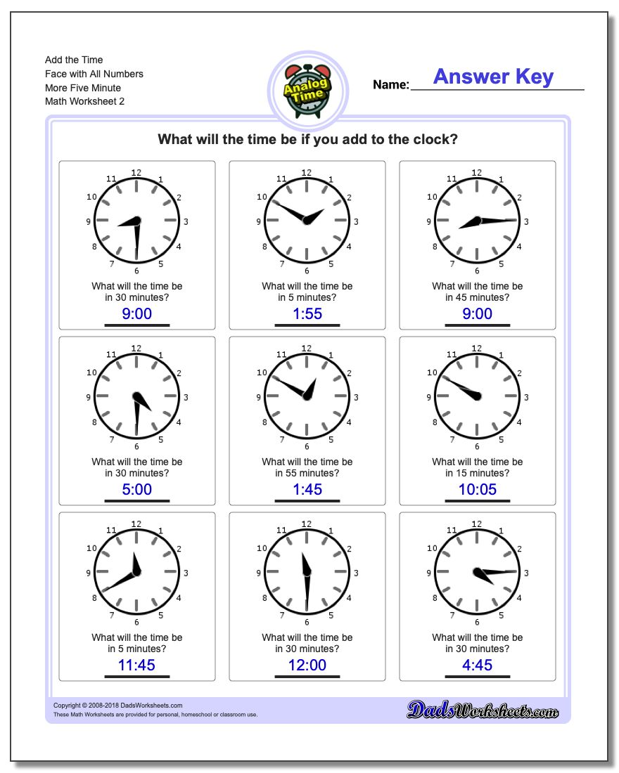 Add the Time Face with All Numbers More Five Minute www.dadsworksheets.com/worksheets/telling-analog-time.html Worksheet