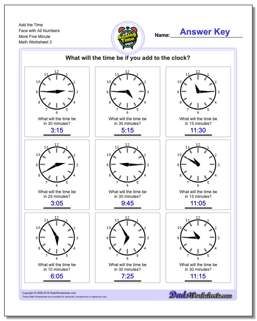 Add the Time Face with All Numbers More Five Minute Worksheet