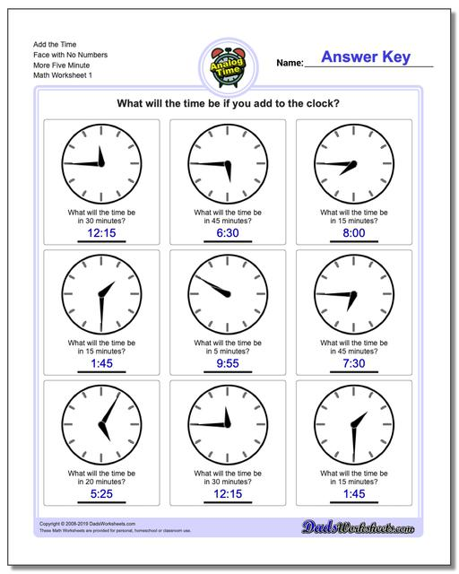 Telling Analog Time Add the Face with No Numbers More Five Minute Worksheets