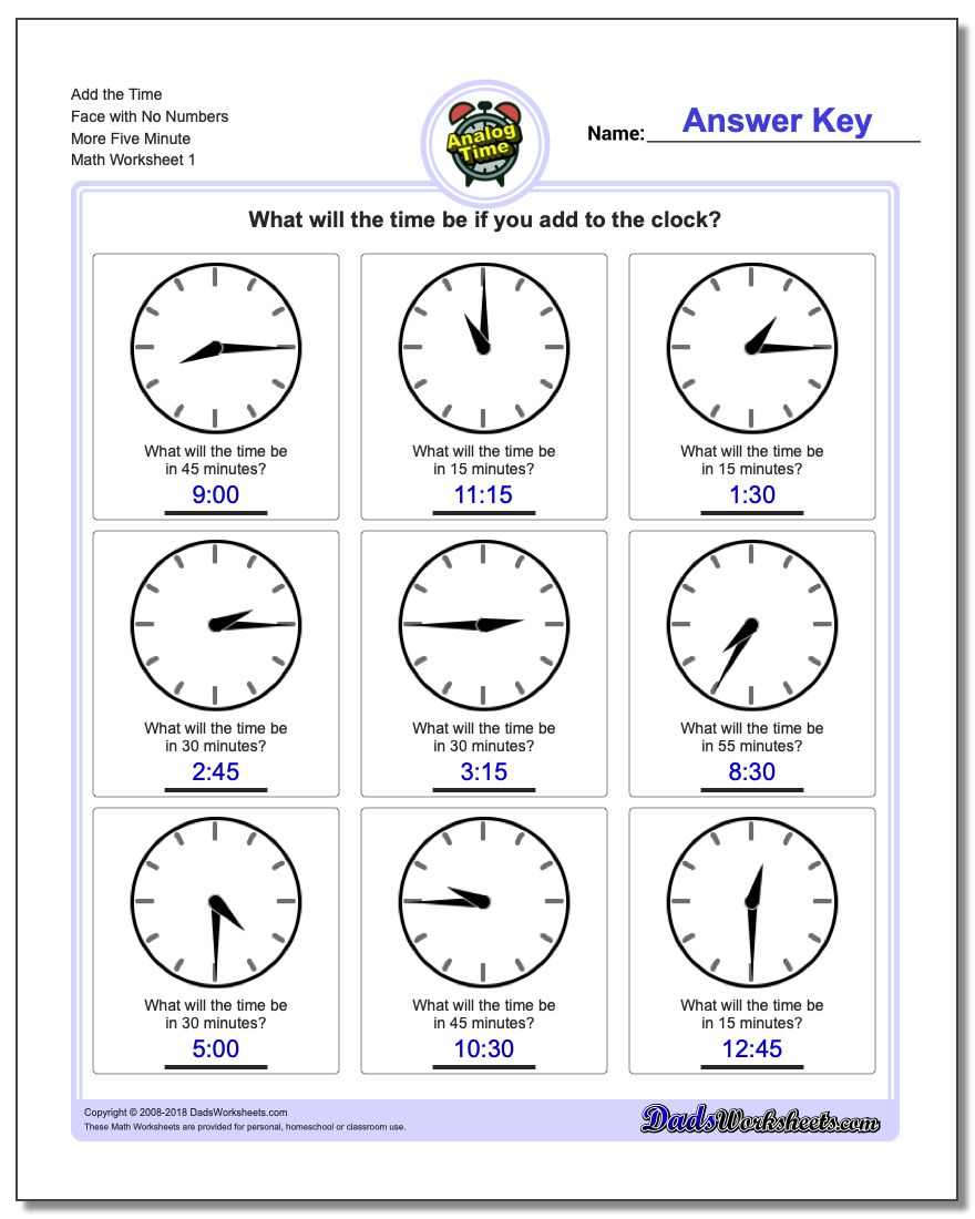 Telling Analog Time Add the Face with No Numbers More Five Minute Worksheet