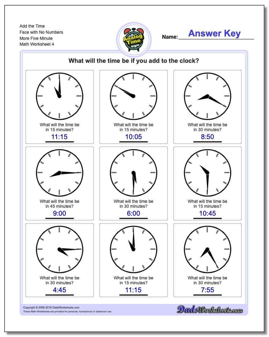 Add the Time Face with No Numbers More Five Minute Worksheet