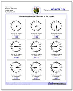 Telling Analog Time Quarter Hour Addition Worksheet