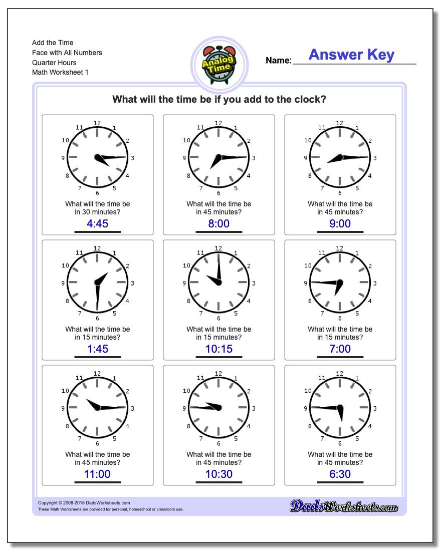 Telling Analog Time Quarter Hour Addition Worksheet
