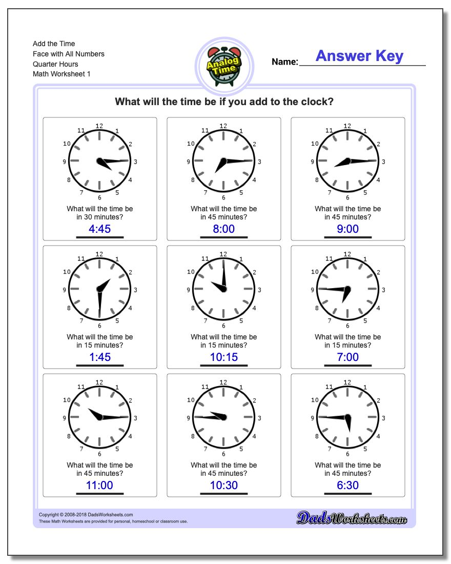 worksheet Telling Time To The Quarter Hour Worksheets quarter hour time addition telling analog add the face with all numbers hours worksheet