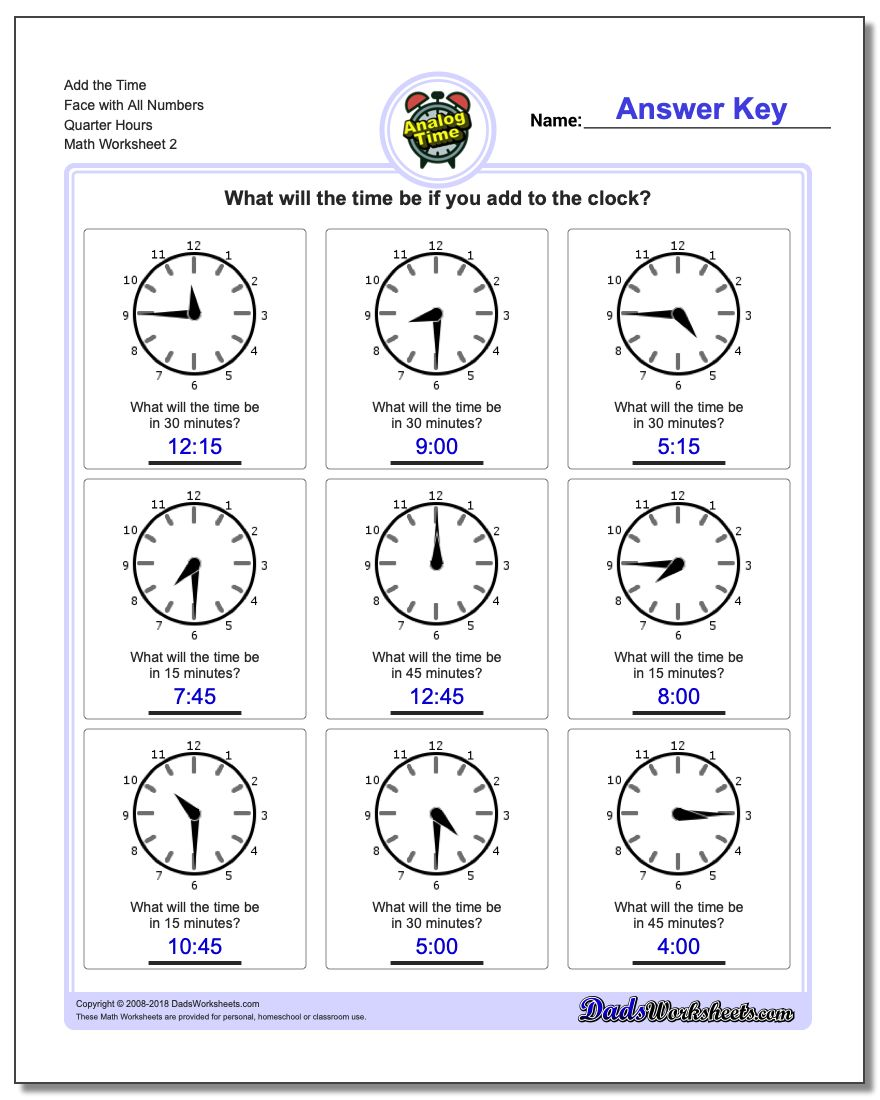Add the Time Face with All Numbers Quarter Hours www.dadsworksheets.com/worksheets/telling-analog-time.html Worksheet