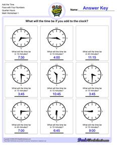 Telling Analog Time Add the Face with Four Numbers Quarter Hours Worksheet