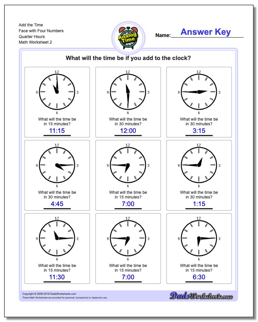 Add the Time Face with Four Numbers Quarter Hours www.dadsworksheets.com/worksheets/telling-analog-time.html Worksheet