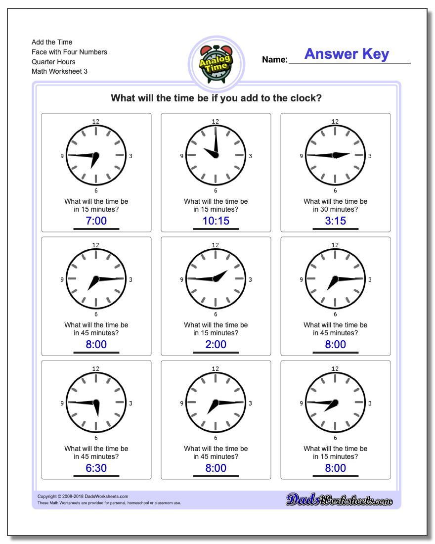Add the Time Face with Four Numbers Quarter Hours Worksheet