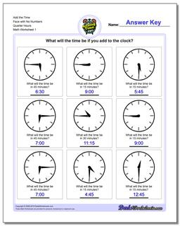 Telling Analog Time Add the Face with No Numbers Quarter Hours Worksheet