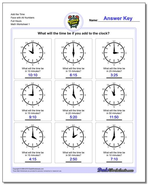 telling analog time  telling analog time simple addition worksheets