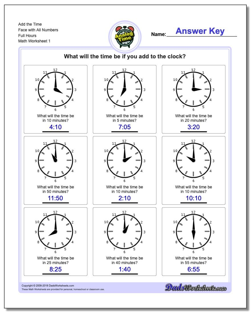 Telling Analog Time Simple Addition Worksheet
