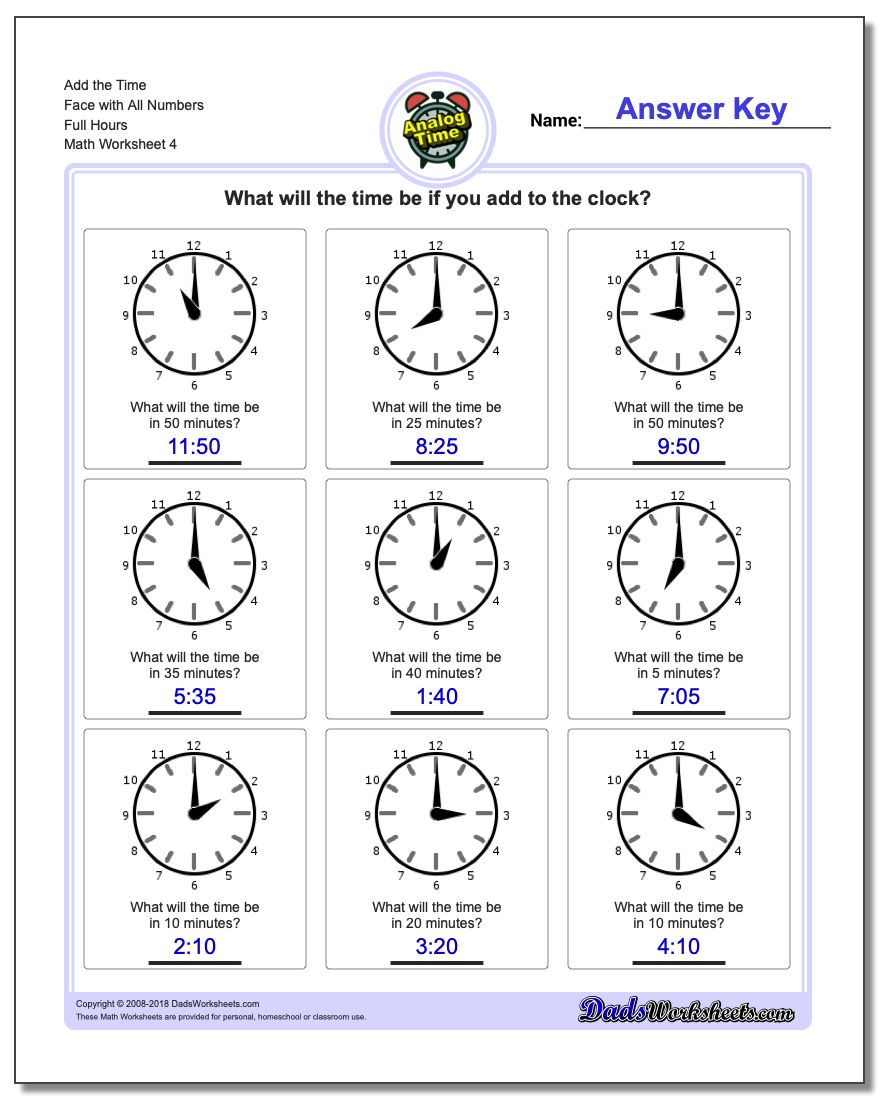 Add the Time Face with All Numbers Full Hours Worksheet