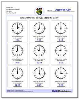 Telling Analog Time Add the Face with Four Numbers Full Hours Worksheet