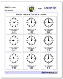 Add the Time Face with Four Numbers Full Hours www.dadsworksheets.com/worksheets/telling-analog-time.html Worksheet