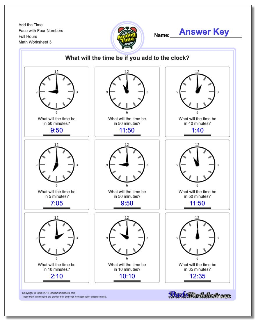 Add the Time Face with Four Numbers Full Hours Worksheet
