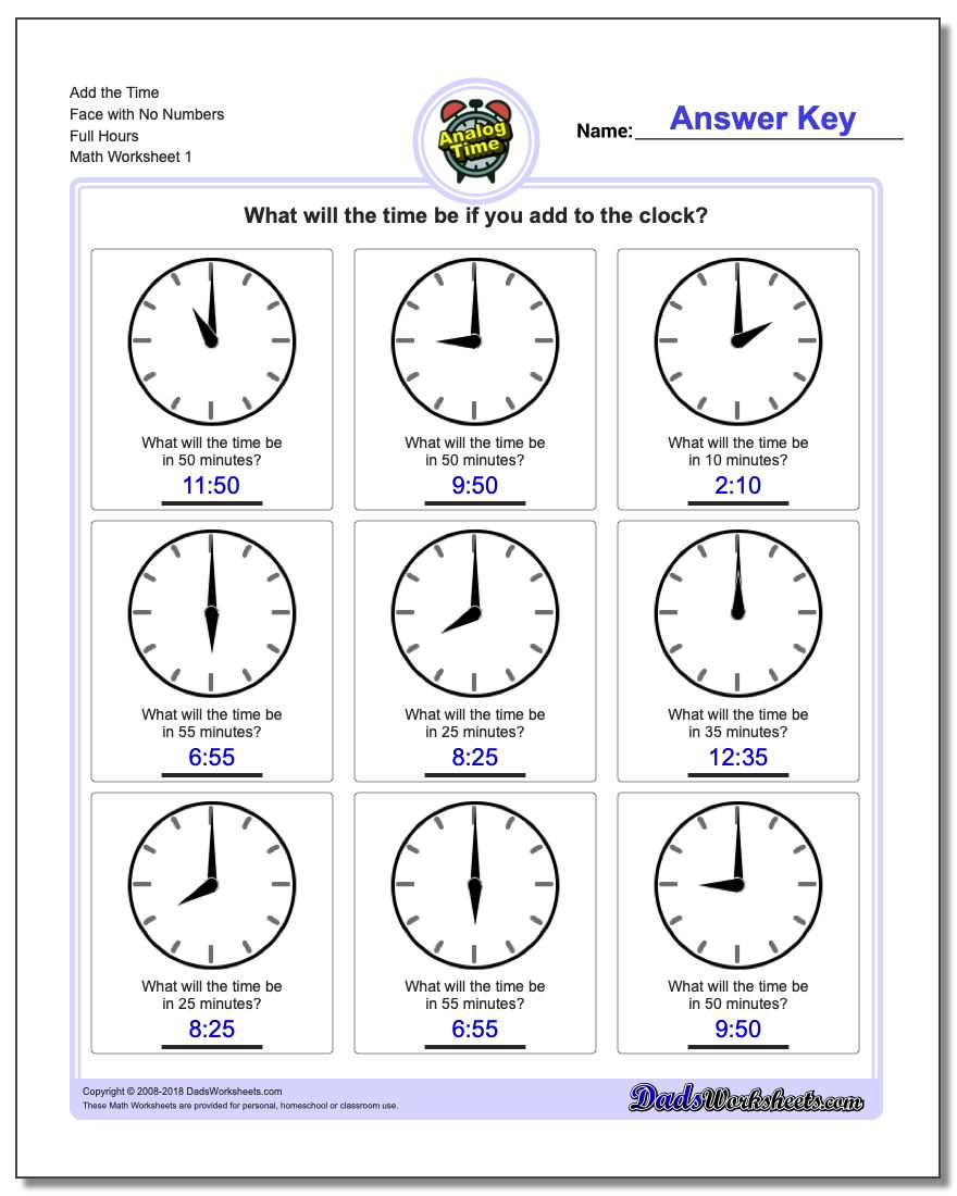 Telling Analog Time Add the Face with No Numbers Full Hours Worksheet