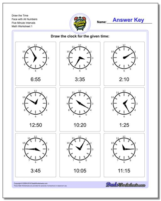 Telling Analog Time Draw the Face with All Numbers Five Minute Intervals Worksheets