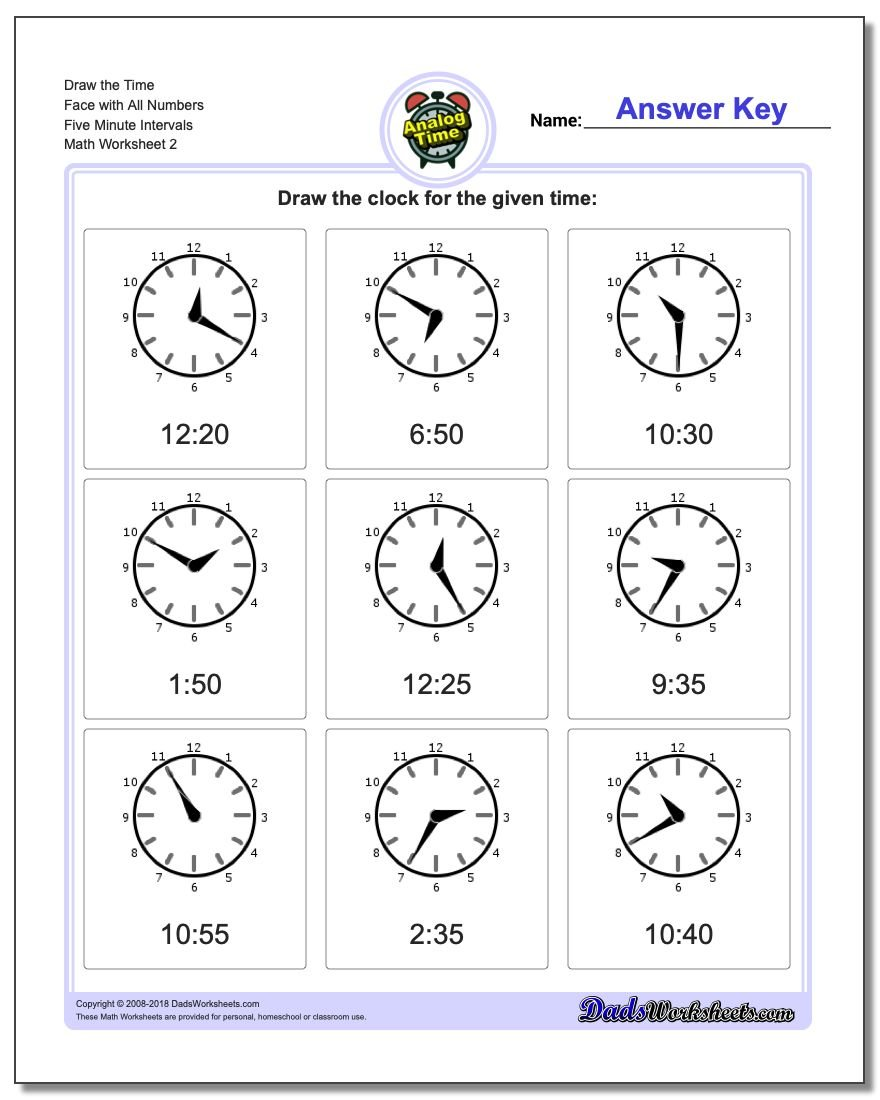 Draw the Time Face with All Numbers Five Minute Intervals www.dadsworksheets.com/worksheets/telling-analog-time.html Worksheet